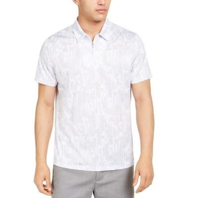 アルファニ ポロシャツ トップス メンズ Men's Classic-Fit Performance Stretch Abstract Dash-Print Polo Shirt, Created for Macy's Bright White