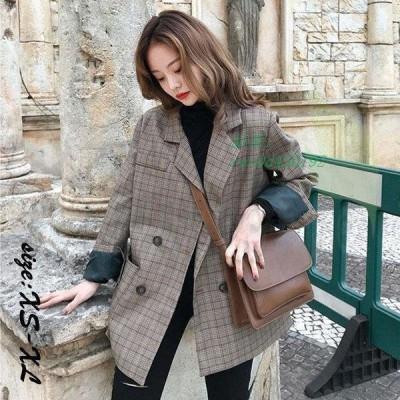 レディース スーツ ブレザー スーツジャケット きれいめ 春秋 通勤 大きいサイズ カジュアルウエア 長袖 着痩せ ロング丈ブレザー ゆったり チェック柄 韓国風
