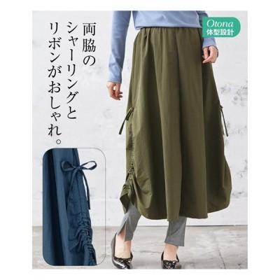 スカート ロング丈 マキシ丈 大きいサイズ レディース シャーリング デザイン  LC/LLC/3LC ニッセン nissen