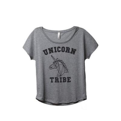 レディース 衣類 トップス Thread Tank Unicorn Tribe Women's Relaxed Slouchy Dolman T-Shirt Tee Heather Grey Medium