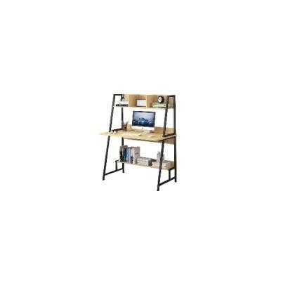 (木材)現代のコンピュータラップトップデスクコンピュータテーブル収納棚付きオフィステーブル省スペースの本棚装飾ディスプレイスタンド