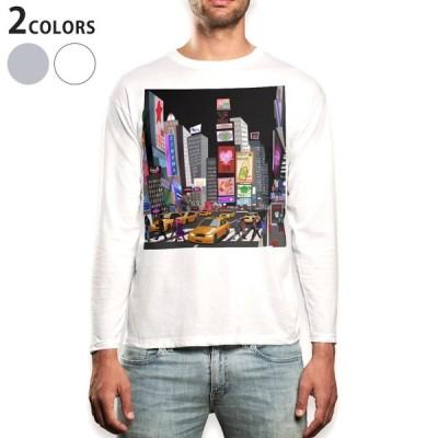 ロングTシャツ メンズ 長袖 ホワイト グレー XS S M L XL 2XL Tシャツ ティーシャツ T shirt long sleeve  イラスト 建物 街 006043