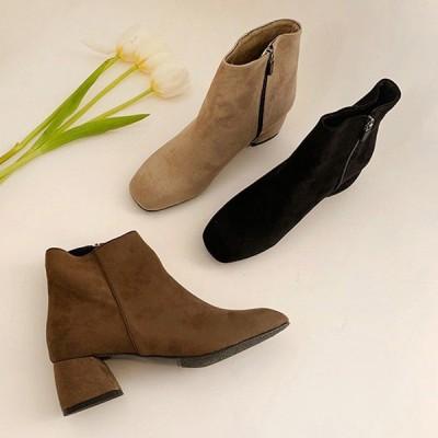ショートブーツ スクエアトゥ サイドジップ スエード ローヒール チャンキーヒール 太ヒール レディース 靴 婦人靴 ブラック ブラウン ベージュ 黒 茶色