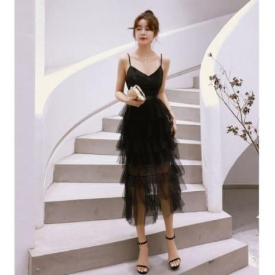 ドレス ロングドレス ワンピース キャミワンピ ブラック 透け感 ティアードスカート パーティ 二次会 演奏会