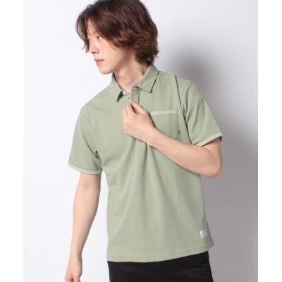 【スタイルブロック】 裏メッシュダブルフェイスポロシャツ メンズ グリーン L STYLEBLOCK