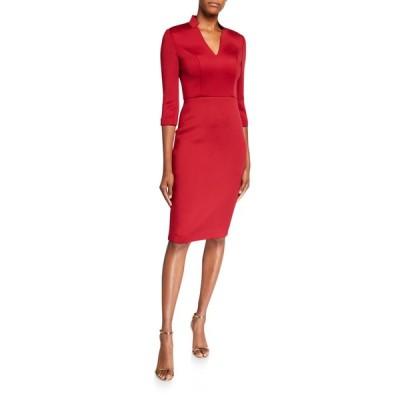 バッドグレイミッシカ レディース ワンピース トップス V-Neck 3/4-Sleeve Solid Scuba Dress