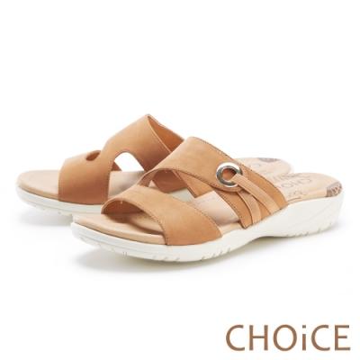 CHOiCE 二字造型真皮厚底 女 拖鞋 棕色