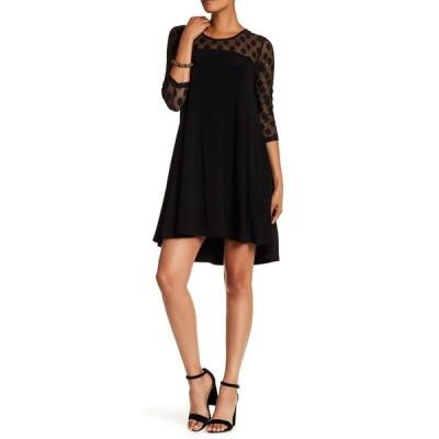 ニナレオナルド レディース ワンピース トップス Polka Dot Illusion 3/4 Sleeve Swing Dress BLACK