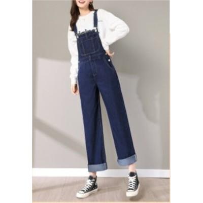 ブルーデニム オーバーオール 女性 ルーズ スプリング ニューファッション ウエスタン スタイル ストレート ワイドレッグパンツ デニム