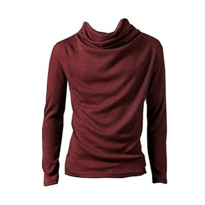 メンズ ボリュームネック ロング シャツ アフガン タートルネック Tシャツ 長袖 ハイネック カットソー WA010