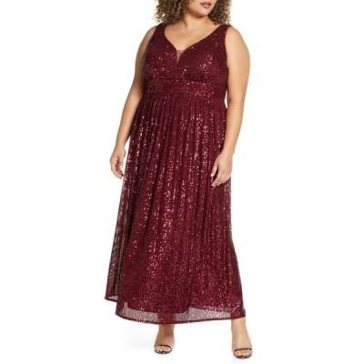 モーガン レディース ワンピース トップス Sequin Knit Sleeveless Gown MERLOT