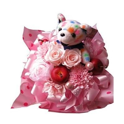 誕生日プレゼント ベアー入り 花 プリザーブドフラワー入りギフト ビーンベアー入り ピンク ケース付