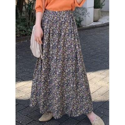 スカート 花柄ラップ風ギャザースカート