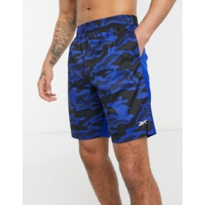 リーボック メンズ ハーフパンツ・ショーツ ボトムス Reebok WOR knit printed shorts in blue Blues