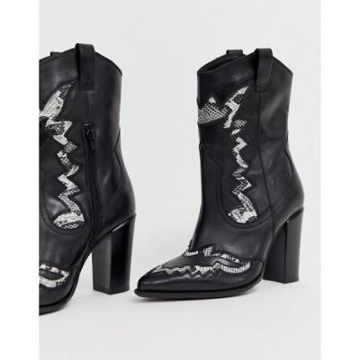 エイソス レディース  ブーツ・レインブーツ シューズ ASOS Bronx black leather heeled western boots