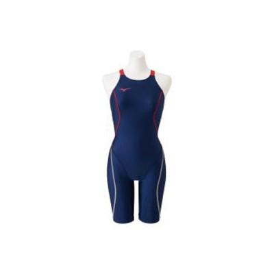 ミズノ 女性用競泳水着 ハーフスーツ(レースオープンバック)(ネイビー×レッド・サイズ:S) mizuno (FINA承認)STREAM ACE N2MG022486S 返品種別B