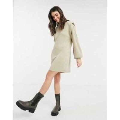 エイソス レディース ワンピース トップス ASOS DESIGN mini dress with structured shoulder in oatmeal Oatmeal