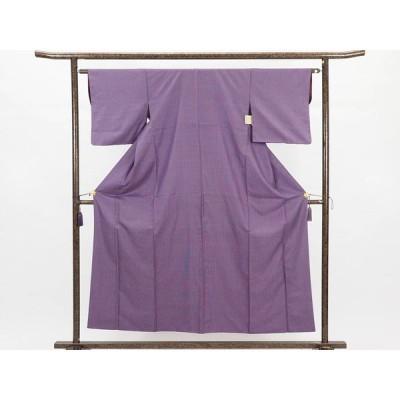 リサイクル着物 紬 正絹紫地先染絣袷紬着物