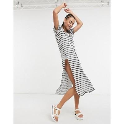 カルバンクライン レディース ワンピース トップス CK Swim maxi beach dress with cold shoulder in black/ gray
