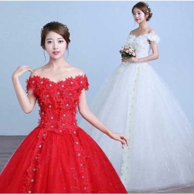 送料無料 ウェディングドレス豪華なチュールドレスお姫様レース切替結婚式プライド花嫁パーティー披露宴