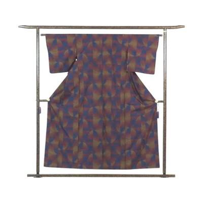 リサイクル着物 紬 正絹紺×赤茶地先染袷真綿紬着物未着用品