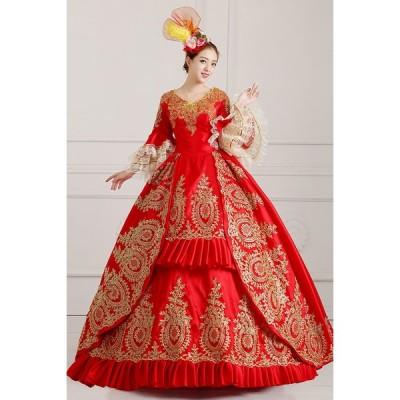 レッドドレス オーダーメイド可能 王族服 貴族服装 現代劇演出服 ヨーロッパ風結婚式服装 豪華な女王 復古風 演出服 パーティードレス ウェディングドレス