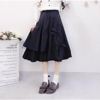 スカート 全店2点 黒 レディース Aラインスカート リボン付き フレアスカート ブラック 原宿風 膝丈スカート ウェストゴム