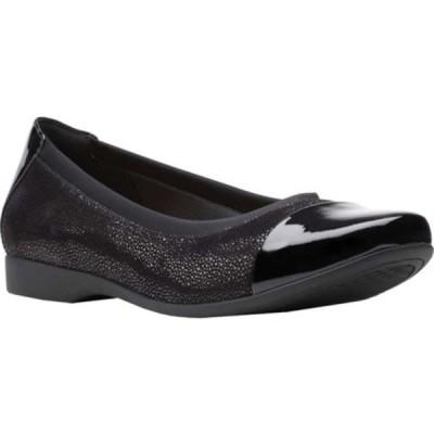 クラークス サンダル シューズ レディース Un Darcey Cap 2 Ballet Flat (Women's) Black Nubuck/Leather