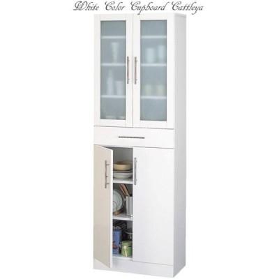送料無料 食器棚 ワイド 60×180 ホワイト お手入れ簡単 全面ポリ板仕様 ミストガラス カトレア