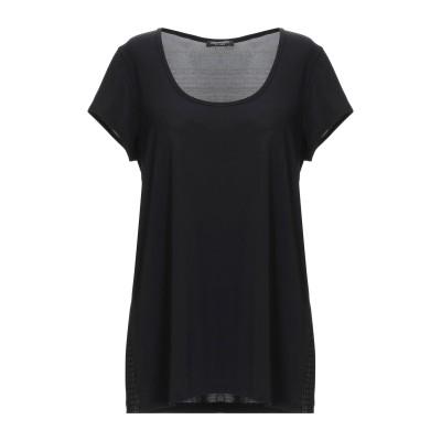 CRISTINAEFFE T シャツ ブラック 40 74% アセテート 18% ナイロン 8% ポリウレタン T シャツ