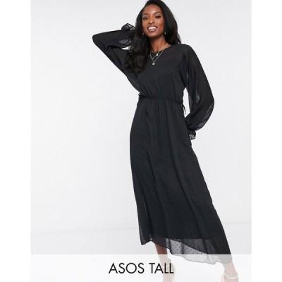 エイソス ASOS Tall レディース ワンピース ミドル丈 ワンピース・ドレス Tall batwing midi dress with drawstring waist in dobby in black ブラック