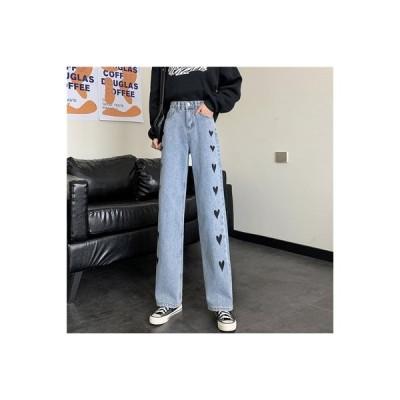 【送料無料】ラブ プリント 女性のジーンズ 秋冬 ハイウエスト ルース ワイドパンツ   364331_A64196-1875065