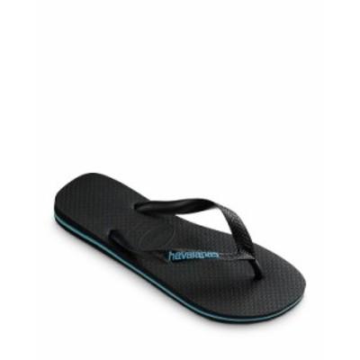 ハワイアナス メンズ サンダル シューズ Men's Top Logo Filete Flip-Flops Black/Turquoise
