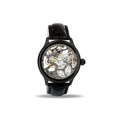 Davis 0899 メンズブラックスケルトン腕時計 機械的動作 Mens Skeleton Mechanical Movement watch Bl