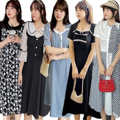 2021夏新入荷   韓国ファッション/大きいサイズ 結婚式 ワンピース/シャツ  レース  シフォンワンピース     女装ワンピース韓国 夏レジャーマキシワンピース特集