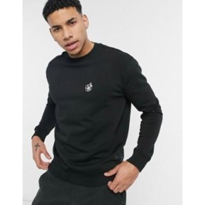 ニュールック メンズ シャツ トップス New Look sweatshirt with rose embroidery in black Black