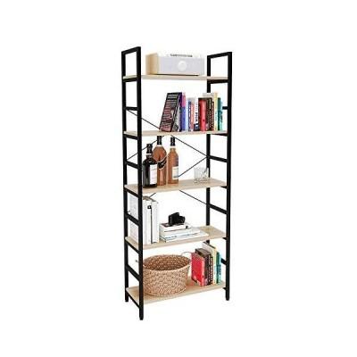 [新品]Bestier Bookshelf 5 Tier Bookcase Adjustable Shelves, Multifunctional Display Rack Storage Shelf Organizer Home Office Funiture