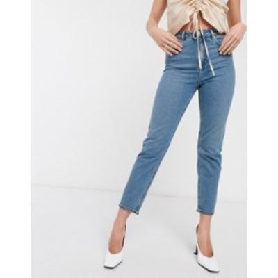エイソス レディース デニムパンツ ボトムス ASOS DESIGN Recycled Farleigh high waist slim mom jeans in mid vintage wash Pretty bri