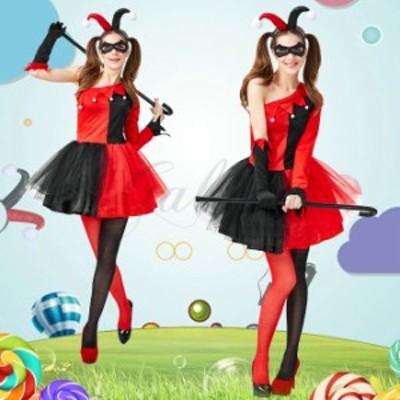 ハロウィン ピエロ サーカス トランプガール レッド ブラック ワンピース かわいい 仮装 コスプレ衣装 ps3663