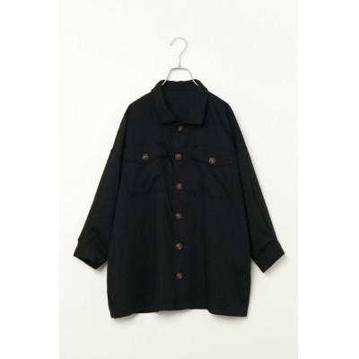 【ヴァンスエクスチェンジ】 リネンコンポケットツキビッグシャツ レディース ブラック M(9ゴウ) VENCE EXCHANGE