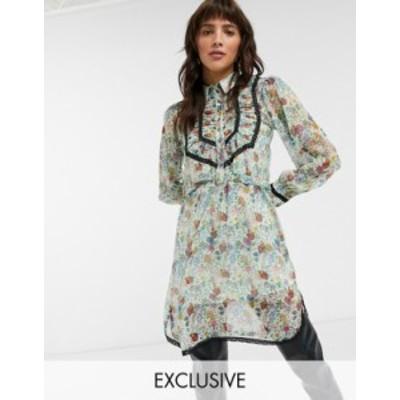 トップショップ レディース ワンピース トップス Topshop IDOL shirt dress with ruffle detail in floral print Multi