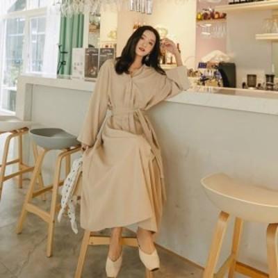 ゆったり 13157 ロングワンピース 新作ワンピース 大きいサイズ 春ワンピース 韓国デザイン トレンド Vネックフロントボタンシャツワンピ