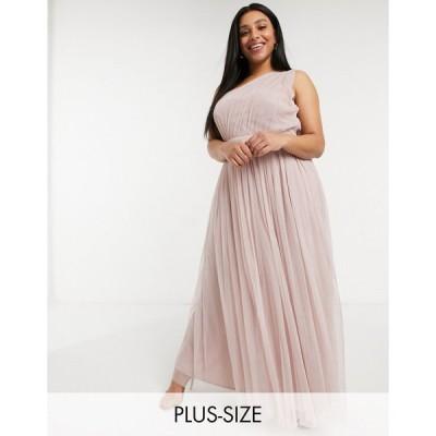 アナヤ ドレス 大きいサイズ レディース Anaya With Love Plus Bridesmaid tulle one shoulder maxi dress in pink エイソス ASOS ピンク