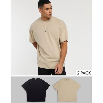 エイソス ASOS DESIGN メンズ Tシャツ 2点セット トップス 2 Pack Oversized T-Shirt With Crew Neck