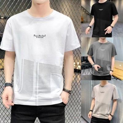 Tシャツ メンズ 半袖 おしゃれ カジュアルシャツ クールネック トップス コットン カットソー ポイント消化 春夏 2021