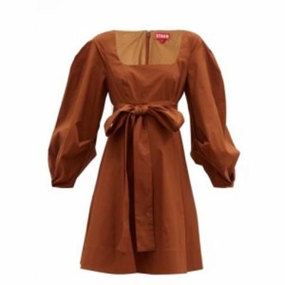 スタウド Staud レディース ワンピース ミニ丈 ワンピース・ドレス Isabella square-neck cotton-blend mini dress Brown