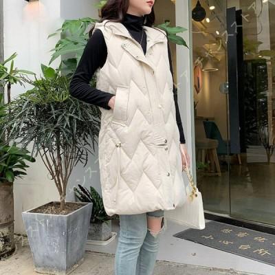暖かい ダウンベスト ロング レディース 大きいサイズ キルティングコート 秋冬 厚手ベスト ダウンコート コート 袖なし ジャケット 中綿ベスト ベスト 着回し