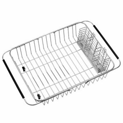 【送料無料】食器水切りかご スライド式水切りかご 伸縮水切りワイヤーバスケット 食器乾燥ラック キッチンラック 皿置き ステンレス製