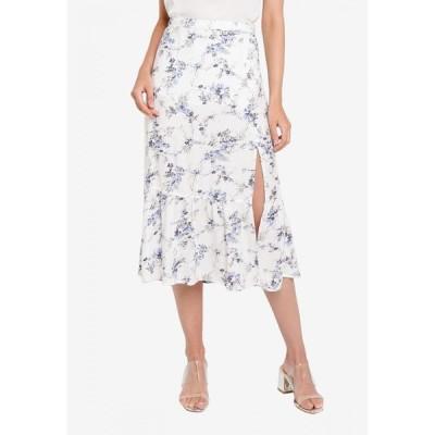 アバクロンビー&フィッチ Abercrombie & Fitch レディース ひざ丈スカート スリットスカート スカート Ruffle High Slit Midi Skirt White Floral