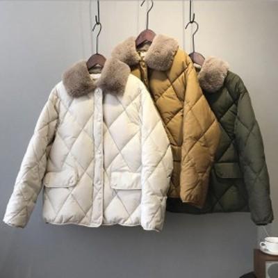 中綿ジャケット レディース 4色 冬 暖かい ブルゾン ゆったり アウター カジュアル ダウンジャケット 防寒コート 無地 20代30代 二枚送料